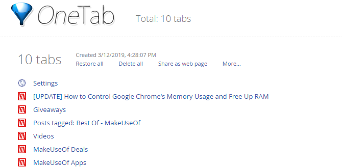 One Tab Chrome Tab Extension